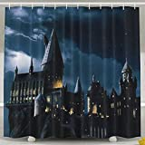 Pillow Hats Shower Curtain print Hogwarts Castle polyester fiber Bathroom Decoration Set with Hooks,60Wx72H Inches