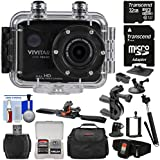 Vivitar DVR786HD 1080p HD Waterproof Action Video Camera Camcorder (Black) with Remote, Helmet, Bike, Suction Cup & Dashboard Mounts + 32GB Card + Case + Kit