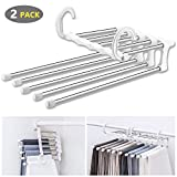 WAOU Hangers Multi-Layer Hanging Pants.5 in 1 Pants Rack Stainless Steel Pants Hangers