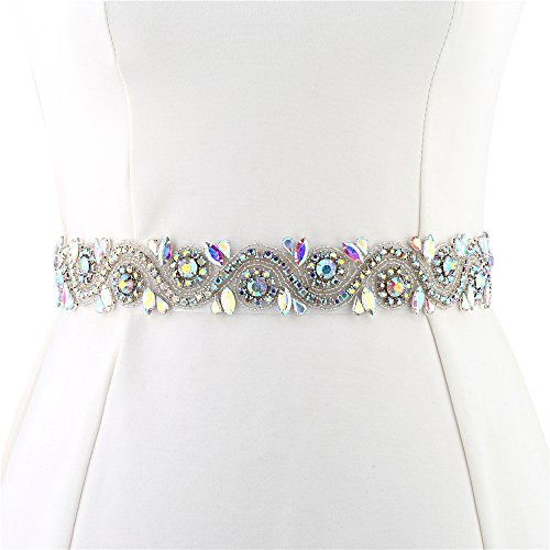 FANGZHIDI Wedding Applique Belt for Dress, 1 Yard Bridal Rhinestone Sash with Crystal Bead Pearls Trim for DIY- Best Gift for Women, Suit for Decorate Evening Gown by Sewing on/Iron ()