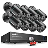 SANNCE Complete 8CH 1080N Surveillance DVR with 1 TB Hard Drive and (8) HD 720P Outdoor Fixed Bullet Cameras CCTV Security Camera System, IP66 Weatherproof, Super Day/Night Vision
