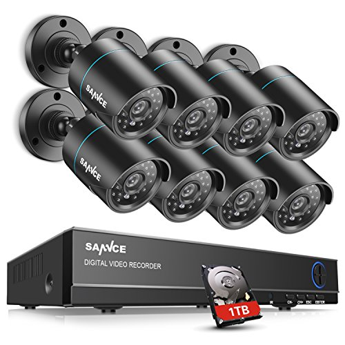 SANNCE Complete 8CH 1080N Surveillance DVR with 1 TB Hard Drive and (8) HD 720P Outdoor Fixed Bullet Cameras CCTV Security Camera System, IP66 Weatherproof, Super Day/Night Vision by SANNCE