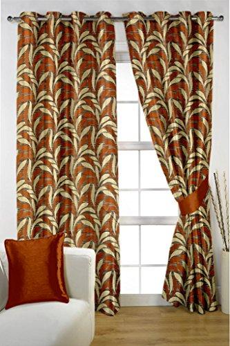 HOMEC Decorous Jacquard Curtain Set of 2 (Size – Door 46 X 84 inch/Color – Orange)