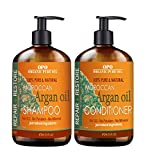 SALE – Moroccan Argan Oil Shampoo & Conditioner Set (2 x 16 oz) | Sulfate Free | Gentle on Curly and Color Treated Hair | Restore Hair with 100% Pure & Natural Argon Oil by Organic Pure Oil For Sale