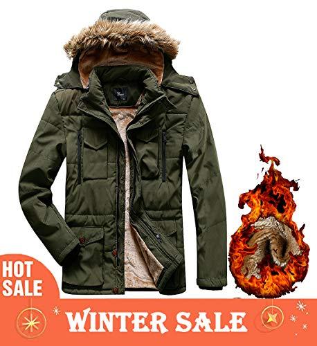 Korago Mens Military Winter Jacket Fleece Coat with Detachable Fur Hood Olive Green 337 Large