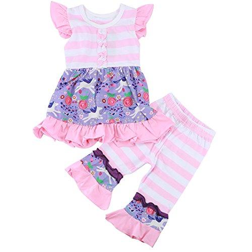 Toddler Baby Girl Floral Ruffle Shirt Dress Top Leggings Pant Outfit Set (5T) ()