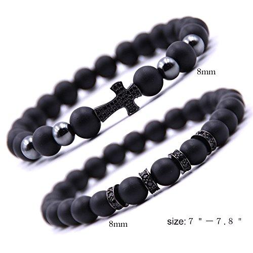 Dolovely 8mm Black Matte Onyx Beads CZ Cross Charm Bracelet Set for Men Women by Dolovely (Image #2)