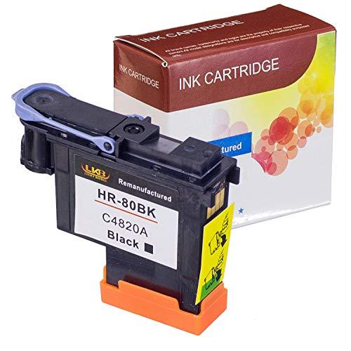 LKB 1PK HP80 Printhead C4820A with black color Compatible with New Updated Chips fit for HP DesignJet 1050c 1050c Plus 1055C 1055cm 1055cm Plus (1BK)-US