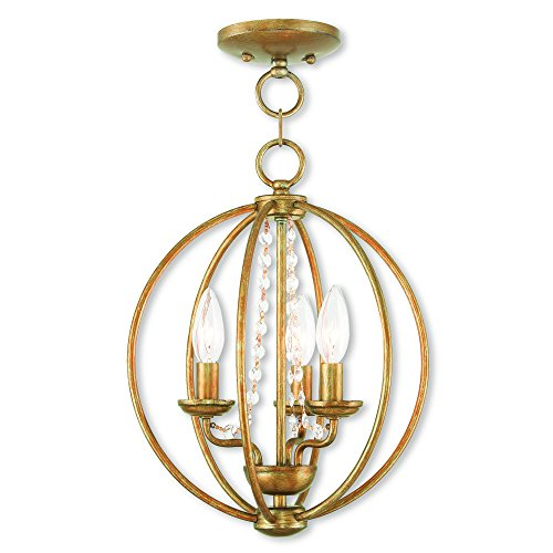 Livex Lighting 40913-48 Arabella 3 AGL Mini Chandelier/Flush Mount, Antique Gold - Gold Leaf Transitional