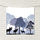 smallbeefly Moose Hand Towel Forest Design Abstract Woods North American Wild Animals Deer Hare Elk Trees Quick-Dry Towels Black White Grey Size: W 20'' x L 29''