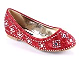 Fashion New Slip-on Girls Blink Party Glitters Casual Wedding Flats Kids Shoes Youth Dress Shoes New Without Box (4, Red)