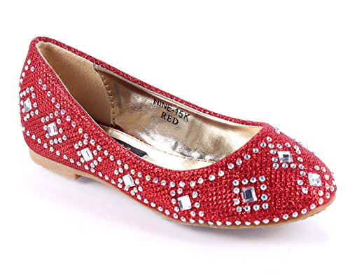 Fashion New Slip-on Girls Blink Party Glitters Casual Wedding Flats Kids Shoes Youth Dress Shoes New Without Box (4, Red) by Other