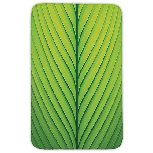 Rectangular Area Rug Mat Rug,Green,Wavy Striped Texture of a Green Leaf Macro Close Up Graphic Fresh Plant Decorative,Lime Green Apple Green,Home Decor Mat with Non Slip Backing by iPrint