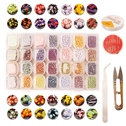 (Glass Stripes Seed Beads kit Assorted Mix 28style About 10000pcs Small Stripes Pony loosed Beads with Organizer Box for Jewelry,Beading, Crafting Making)
