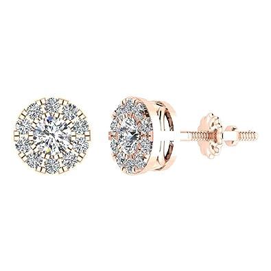 ebdff5fa34d54 Amazon.com: Halo Cluster Diamond Earrings 0.55 ctw 14K Rose Gold ...