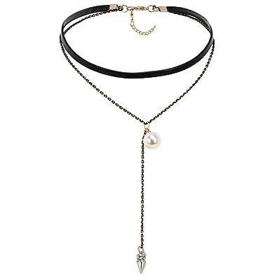 Epinki Damen Choker, Doppelt Halskette Leder Perle Pfeil Form Anhänger Rock  Hoker Gothic Halsband Halsschmuck Schwarz Gold 34.5CM mit Perle  Amazon.de   ... 7b620aebea