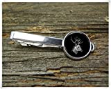 Fashion cool jewelry Deer Head Tie Clip,Black White Tie Clip,Wildlife Tie Clip,Man Gift,Dome Glass Ornaments, Pure Hand-Made