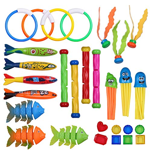 29 Pcs Diving Pool Toys for Kids, Summer Underwater Swimming Pool Toy Sets-Includes Diving Rings,Sticks,Octopus,Torpedo Bandits,Fish,Seaweed