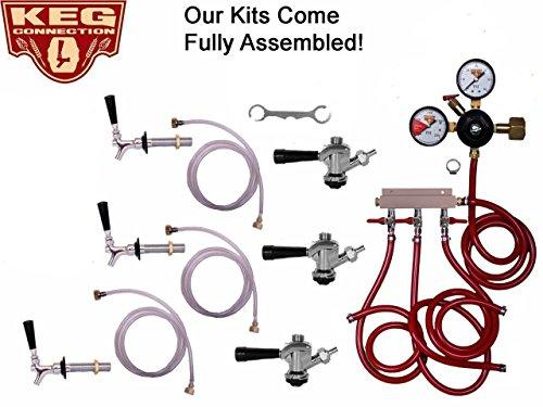 3 Faucet Refrigerator Keg Kit Commercial Tap, Chudnow Regulator by Kegconnection Commercial Keg Refrigerator
