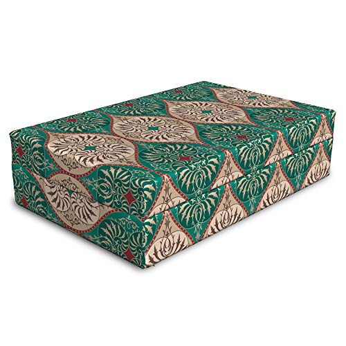 (Lunarable Damask Pet Bed, Traditional Timeless Floral Composition with Swirls Curls Abstract Design, Animal Mat Foam and Stylish Printed Cover, 24
