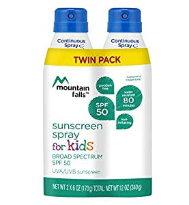 Mountain Falls Kids Sunscreen Continuous Spray, SPF 50 Broad Spectrum UVA/UVB Protection