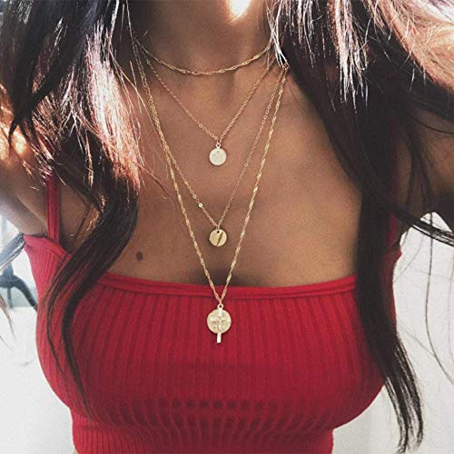 Bestyuan Women Gold Multi Layer Multi Strand Chain Cross and Coin Pendant Necklace For Woman Teens Trendy Necklaces Pendants ()