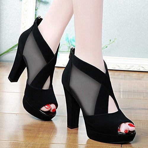 Tacones Zapatos Altos Grueso Impermeable Solo Sra Taiwán con Mujer Boca EU40 Zapatos Pescado Sandalias De La Eu34 SHOESHAOGE De x10aqwYp1