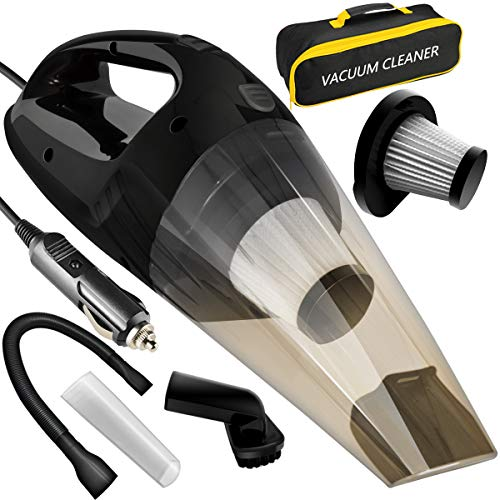 LOVIN PRODUCT Car Vacuum, Portable Handheld Car Vacuum Cleaner with Strong Suction; DC 12-Volt 120W High Power/Wet & Dry Use; with 15ft Power Cord, 2 Filters & Carry Bag
