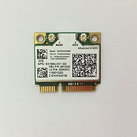 Advanced-N 6205Anhmw USE FOR INTEL 6205 Half Mini Pci-e Wireless Dual Band Wifi Card USE For T420, T430 T520, X220, X230 , W530, W520 and 8460, 8560, 2570, 6460, 8470 ,6560 FRU: 60Y3253 (Wifi Card Mini Pci)