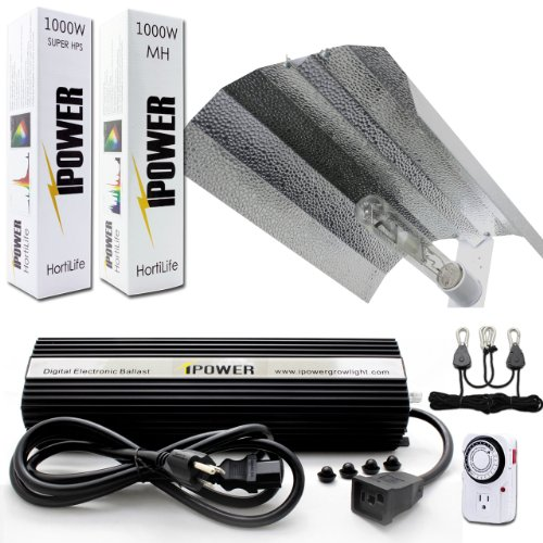 iPower 1000W HPS MH Bulb Grow Lights System Kits with Wing Reflector and 1000 Watt Digital Dimmable Ballast for Indoor Plants, Timer included