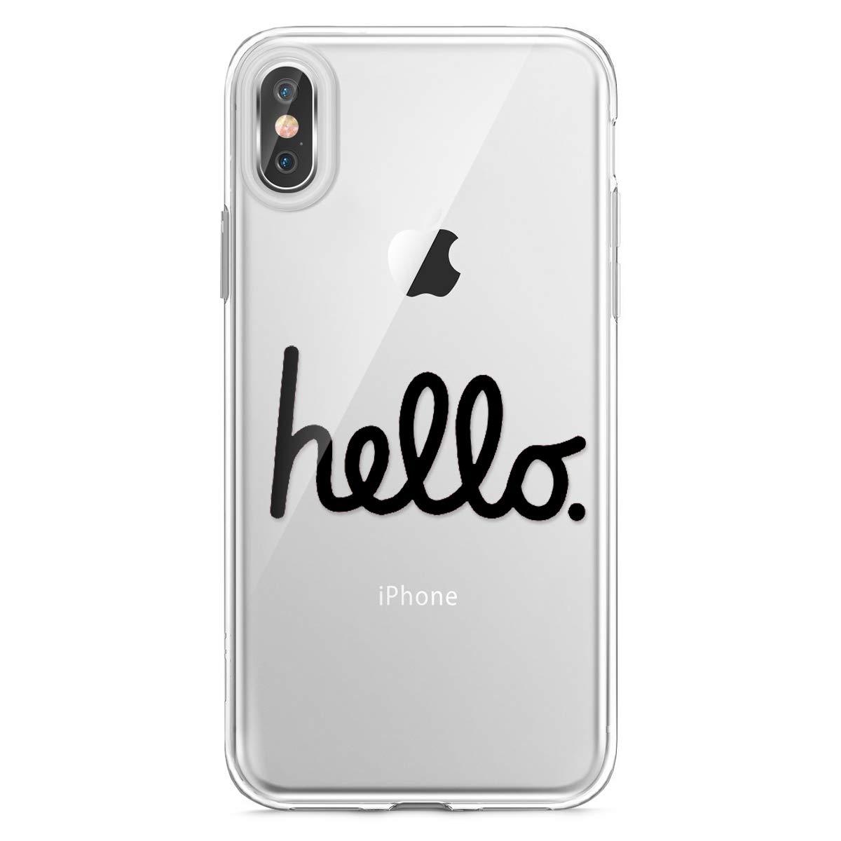 Funda Compatible con iPhone XR,Carcasa Compatible con iPhone XR Funda Silicona Suave,Transparente Pluma y Ingl/és Frase Patr/ón Ultra Fina Brillante Crystal Clear Silicona TPU Case
