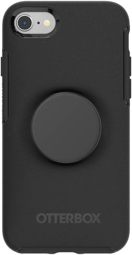 Otter + Pop for iPhone SE, 7 and 8: OtterBox Symmetry Series Case with PopSockets Swappable PopTop - Black and Aluminum Black