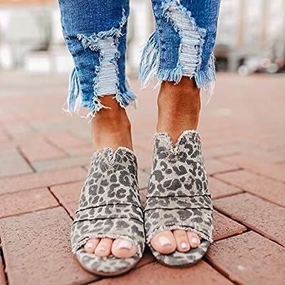 HIRIRI Women's Peep Toe Platform Backless Low Chunky Heel Sandals Ladies Vintage Leopard High Heel Shoes: Clothing