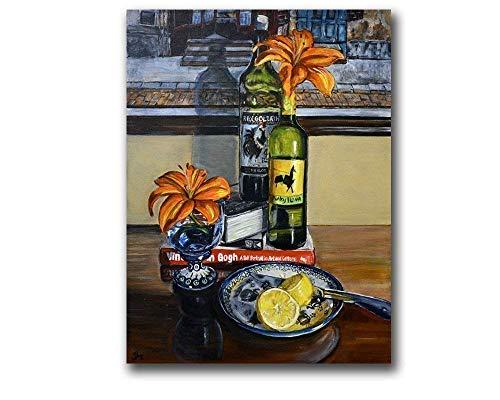 Polish Pottery Rustic Kitchen Wine Lemons Art Print Colorful Still Life, size mat option