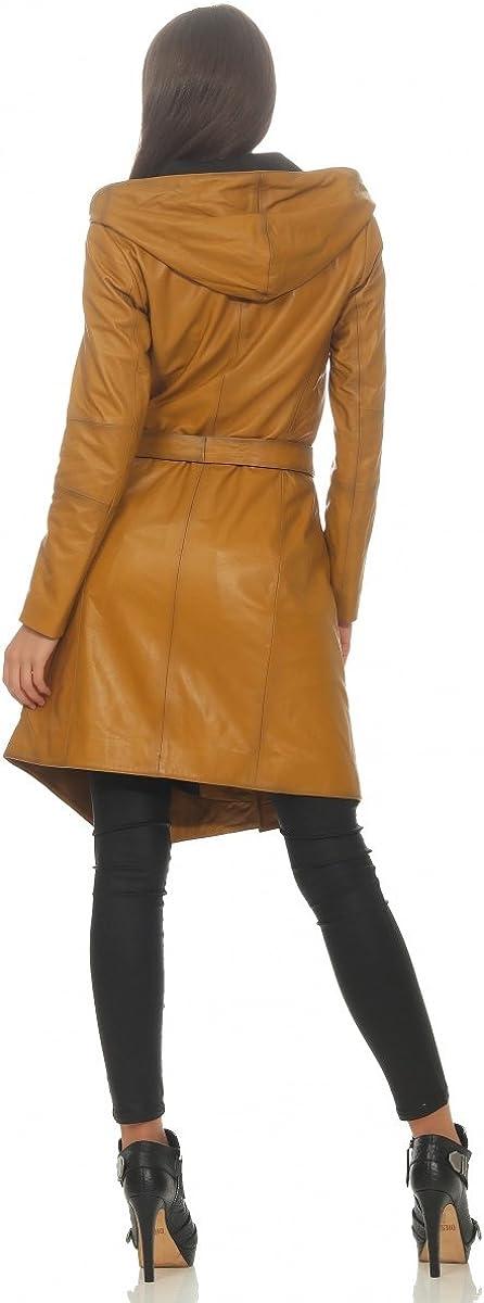 Hollert Femmes Manteau en Cuir Cuir Véritable Souple Nappa Agneau avec Col Cascade Capuche Ceinture Moutarde