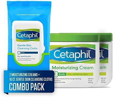 Cetaphil Moisturizing Cream, Two 16-oz. Jars, plus 10-ct. Cetaphil Gentle Skin Cleansing Cloths, Dry, Sensitive Skin (Combo Pack)