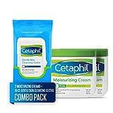 Face Moisturizer Dry Flaky Skin - Cetaphil Moisturizing Cream, Two 16-oz. Jars, plus 10-ct. Cetaphil Gentle Skin Cleansing Cloths, Dry, Sensitive Skin (Combo Pack)