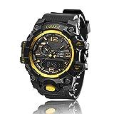 AD1606 OHSEN Mens Analog Digital Dual Timezone Stainless Steel Quartz Wrist Watch in Gold