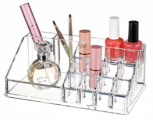 Boxalls Rain Cosmetic Organizer for Vanity Cabinet to Hold Makeup, Beauty Products - Clear with 20 Compartments