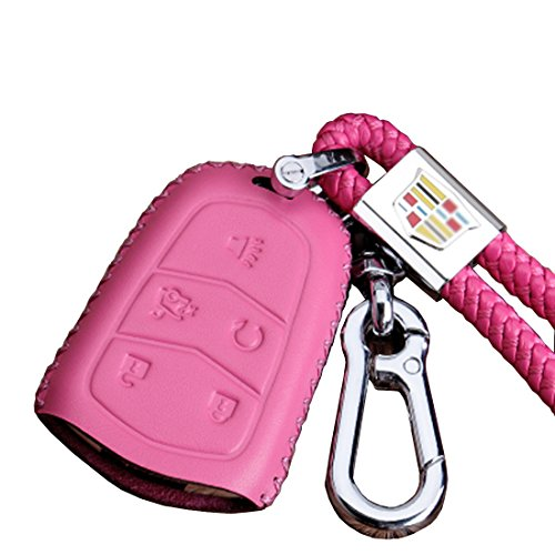 KMT Leather Car Remote Key Fob Case Cover Holder Shell For Cadillac 5-Buttons xt5 xts atsl ct6 srx ats SRX Smart Key (Pink) by KMT