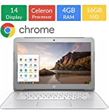 #9: Newest HP 14-inch Chromebook HD SVA (1366 x 768) Display, Intel Dual Core Celeron N2840 2.16GHz, 4GB DD3L RAM, 16GB eMMc Hard Drive, Bluetooth, HDMI, Stereo speakers, HD Webcam, Google Chrome OS