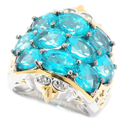 Michael Valitutti Palladium Silver Paraiba Color Topaz 10-Stone Cluster Ring by Michael Valitutti
