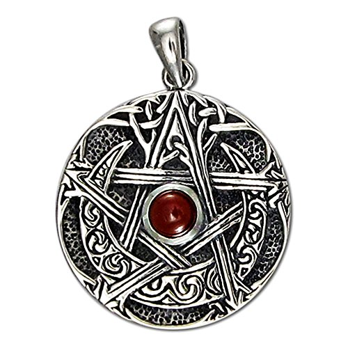 Sterling Silver Moon Goddess Pentacle Pendant with Natural Garnet