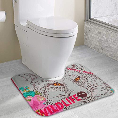 Bennett11 Wolf with Rose Wildlife Animal Artwork Bath Rugs,U-Shaped Bath Mats,Soft Memory Foam Bathroom Carpet,Nonslip Toilet Floor Mat 19.2″x15.7″