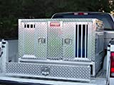 Owens Products, Model 55057W, Dog Box for Hunting and Travel ~ Pro Hunter Series Double Compartment Diamond Plate Aluminum Dog Crate, with Bottom Storage