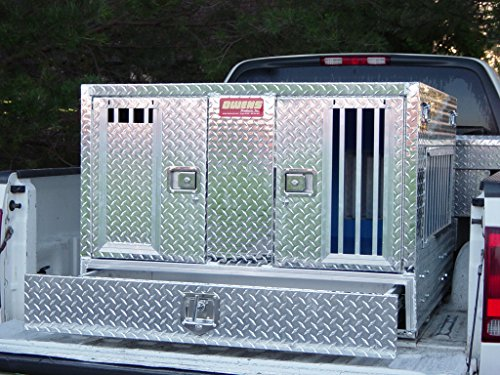 Owens Products, Model 55057W, Dog Box for Hunting and Travel ~ Pro Hunter Series Double Compartment Diamond Plate Aluminum Dog Crate, with Bottom Storage by PUNK HOLLOW COUNTRY KENNEL