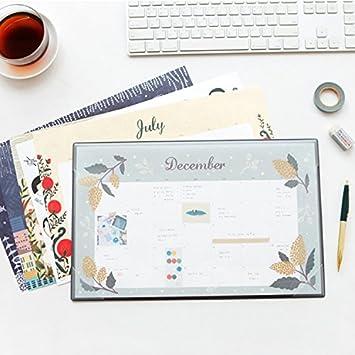Ilustrado planificador escritorio mensual Pad calendario de ...
