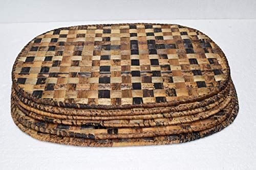 Oval Placemat Gifts - Set of 6 African Placemats - Banana Stalks Placemats (Size Large - 16''x11'') - Africa Gift - Handmade in Rwanda - Natural, ATR03