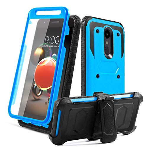 LG Aristo 2 Case,LG Aristo 3/Tribute Empire/LG K8S/Rebel 4/Tribute Dynasty/Zone 4/Aristo 2 Plus/Fortune 2/Risio 3/K8 2018/Phoenix 4 Case,[Built-in Screen Protector] Kickstand Swivel Belt Clip-Blue ()