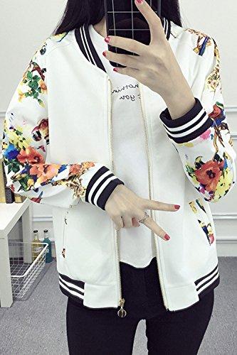Nimpansa Donne Baceball Con Giornaliera Collare Occasionale Giacche Sono La White Tasche Le Cerniera rRrdnxIwq